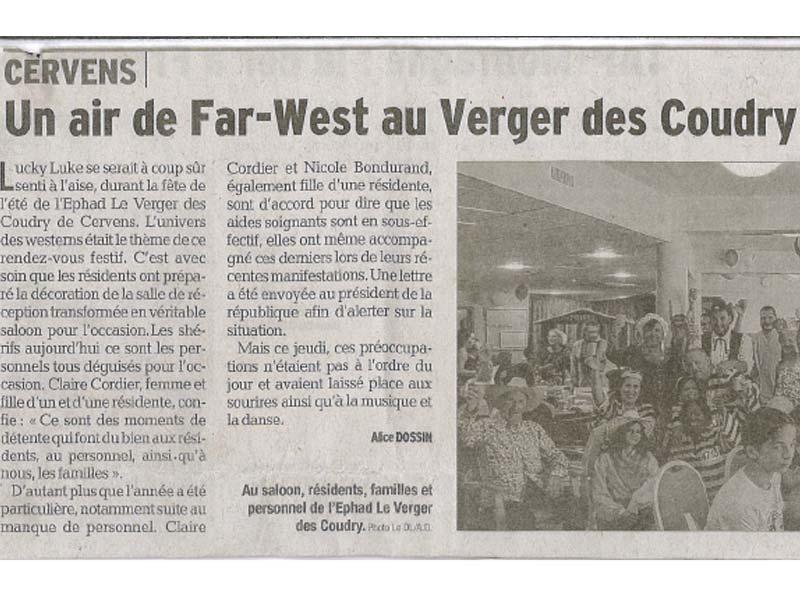 Photo de l'article de journal paru sur la journée Far West organisée à l'Ehpad Le Verger des Coudry, établissement pour personnes âgées géré par l'association Odélia